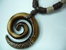 Buffalo Bone White Spiral Shape Pendant Adjustable Necklace # 30192-03 (QTY 2)