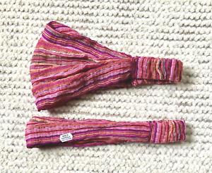 Guatemala Fabric Yoga Headband/Social Distance FaceCover poss Pink Shades NEW