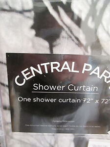 JC PENNEY HOME STORE New York CENTRAL PARK Fabric Shower Curtain BLK WHITE NIP