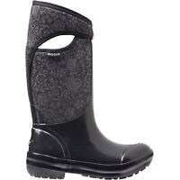 LADIES BOGS PLIMSOLL HIGH FLORAL BLACK WARM INSULATED WELLINGTON BOOTS 71542