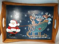 Signed VTg Santa & Reindeer Hand Painted Wood Christmas SERVING TRAY 18X13 Free
