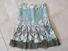 MONSOON Ladies Linen & Silk Green & Brown Floral Lined Skirt. size 10 UK /38 EU