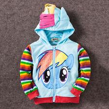 Kids Toddler Girl Hoodie Coat Tops My Little Pony Wing Sweatshirt Zip Jacket