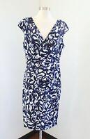 Lauren Ralph Lauren Navy Blue Abstract Floral Print Ruched Wiggle Dress Size 14