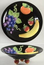 Fitz & Floyd Classics Raised Embossed Fruit Candy Dish Footed Compote on Black