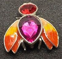Vintage Avon Buzz Pin Silver-tone Rhinestone Bee Insect Brooch Estate Jewelry