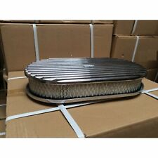 "15"" Aluminum Oval GM Finned Air Cleaner Filter fits edelbrock holly carburator"
