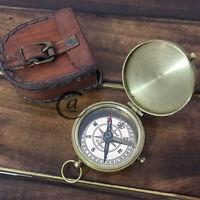 Christmas Australian Navy Brass Compass Christmas Design Leather Case Compasses