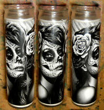 Prayer Candle - Duality - Tattoo Art Sugar Skull Girl Decorative Home Decor Goth