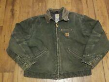 Vintage Carhartt Plaid Blanket Lined Distressed Jacket Coat Gray Size XL