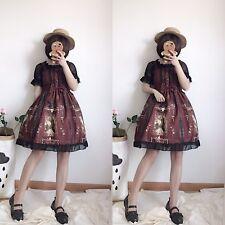 Japanes Vintage Palace Print  Lace Dress Lolita Kawaii Sling JSK Skirt One piece