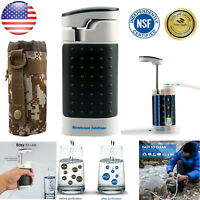 Outdoor Survival Water Filter Straw Purifier Military Emergency Pump Filtration