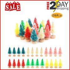 24 Pcs Bottle Brush Trees Set Diorama Trees Mini Sisal Christmas Trees Wreaths D