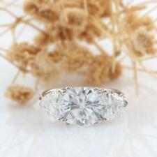 3 Stone Engagement Ring 1.75 Tcw Solid 14K White Gold Cushion White Moissanite