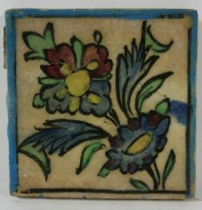 Antike Islamische Qajarkachel Blaue Blume Fliese Keramik um 1900