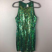 Naeem Khan Riazee Womens 8 Silk Sequin Green Blue Sleeveless Dress Holiday VTG