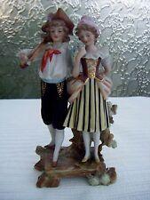 ANCIEN COUPLE PERSONNAGES FIGURINES BISCUIT DE PORCELAINE XIXème - statues