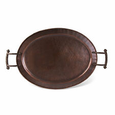 The GG Collection Hammered Antique Copper Finish Metal 26in L Oval Tray