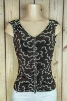 MAX STUDIO Womens Size XS Sleeveless Shirt Vneck Brown Polyester/Spandex Top A17