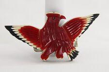 RARE PATRIOTIC RED WHITE BLUE EAGLE CARVED BAKELITE WW II ERA BROOCH - ESTATE