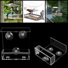 Clear Window Bird Feeder Feeding Squirrel Birdhouse With Suction Tray Cup Mount