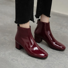 British Patent Leather Women's Ankle Boots Chunky Block Mid Heel Autumn Shoes Sz