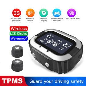 Wireless Motorcycle TPMS Tire Pressure TEMP Monitoring System  2 External Sensor
