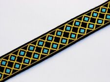 black with gold and teal stitched diamonds vintage jacquard woven 22MM R033