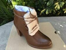 """UGG Analise Exposed Fur Lace Up Boots Heels 3"""" Size 10"""