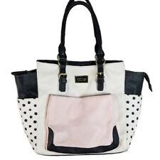 Betsey Johnson Pink Black Polka Dot Tote Shoulder Hand Bag Satchel Purse FLAWS
