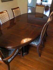 Stanley Dining Room Set: China cabinet, table 2 leaves, 6 chairs and table pad