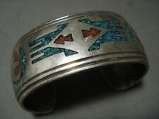 Heavier And Wide Vintage Navajo Turquoise Coral Silver Bracelet Old