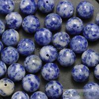 "Natural Blue Spot Jasper Gemstone Round Beads 4mm 6mm 8mm 10mm 12mm 14mm 16"""