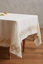 Anthropologie Brindled Tablecloth Cream/ Gold 72 X 90 New With Tags MSRP: $118