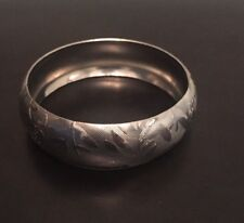 Silver Tone Roses Filigree Bangle Bracelet -vintage