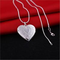 Men's Womens 925 Silver Heart Locket Photo Pendant Mom Lovers Necklace Jewelry