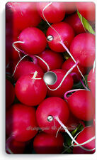 RED RADISHES LIGHT DIMMER CABLE WALL PLATE COVER VEGAN VEGETARIAN KITCHEN DECOR