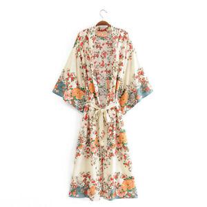 Vintage Floral Print Kimono Robe – Ivory