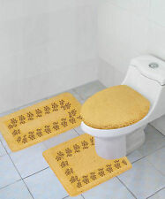 3PC BATHROOM SET RUG CONTOUR MAT TOILET LID COVER SOLID EMBROIDERY BATHMATS #5