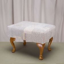 Footstool in a Maida Vale patchwork 14664 linen fabric-Free UK Mainland Delivery