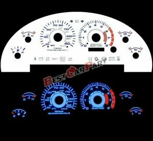 WHITE 99-04 For Ford Mustang GT 4.6L V8 BLUE INDIGLO GLOW Reverse FACE GAUGES