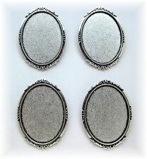 4 Antiqued Silvertone ROMANTIC 40mm x 30mm CAMEO Pin Brooch Frames Settings