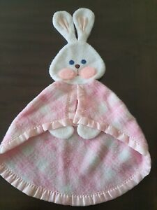 Fisher Price 1979 Vintage Pink White Plaid Bunny Rabbit Lovey Security Blanket