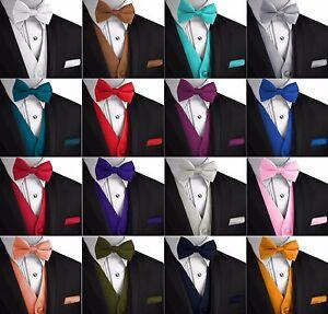 Men's Solid Satin Tuxedo Vest, Bow-Tie & Hankie. Formal, Casual Wedding, Prom