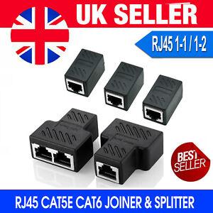 RJ45 Splitter Adapter LAN Ethernet Cable 1-2 Way Dual Female Port Connector Plug