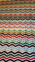 "Vintage Afghan Chevron Ripple Zig Zag Crochet Throw Blanket 53""X68"""
