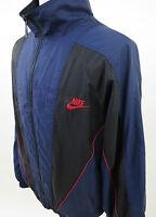 Vintage Nike Men's Nylon Blue Black Lined Geometric Full Zip Windbreaker Jacket