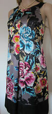 TED BAKER ~Wild Primrose~ SILK Dress UK 10 2 ~Wedding~ Party FLORAL Grey Black