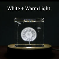 LED Adjustable Display Base for Glass Crystal/Paperweight 4 Inch White/Warm Wood