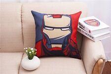 Cartoon Cushion Cover Cotton Linen Iron Man Hold Pillow Case sofa pillowslip